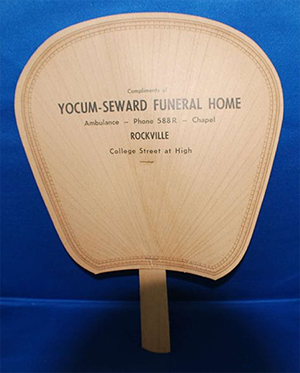 Before the days of air-conditioning in the Southern U.S., cardboard fans were commonly given to churches as advertisements by commercial establishments such as funeral homes and insurance companies.