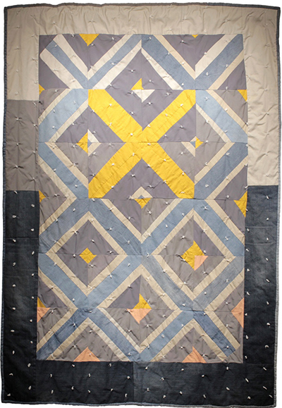 South Abigail Street (Yellow X), The fabrics used in this quilt include patient scrubs from the VA hospital.