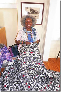 Betty Ford-Smith constructs her Pine Cone/Pine Burr quilts by hand, in her lap, the way Miss Sue taught her.