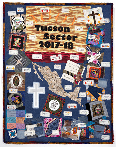 TUCSON SECTOR 2017-2018, 123 deaths, 93″x 74″, made by Becky Aparicio, Judy Breneman, Terry Grzyb-Wysocki, Joyce Harrison, Peggy Hazard, Bea Kabler, Linda Laird, and Shellie Whitman of the Tucson Quilt Documentation Team.