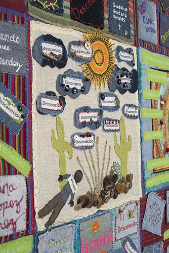 Detail from TUCSON SECTOR DEATHS 2006-2007, 237 deaths, 81.5″x 60″, made by the Tucson Community, Jody Ipsen, Diana Rix, Laurel Wilson, Sharon K Peake, and Rev. Bobbi W. Hargleroad of Tucson, Arizona.