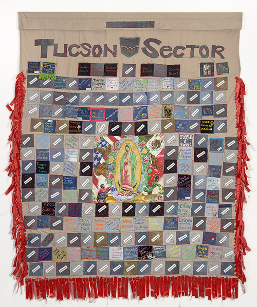 TUCSON SECTOR 2007-2008, 183 deaths, 82″x 64″, made by Nancy Amann and Toni Gorden of Baltimore, Maryland, with Douglas High School students, Douglas, Arizona.