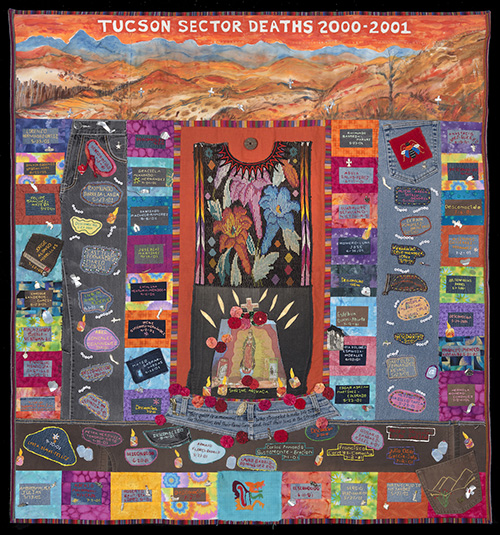 TUCSON SECTOR DEATHS 2000-2001, 136 deaths, 54″x 50″, made by Betty Kersting, with Nelda Bell, Judy Crawford, Lorene Goering, Judi Haines, Liz Hinds, Nancy Dean Kreger, Barbara Medina, Donna Ormerod, and LuAnn Watkins, of Santa Fe, New Mexico.