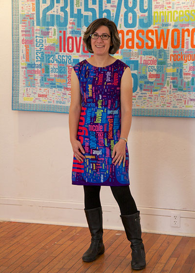 Dr. Lorrie Cranor wearing her password dress. Photo courtesy of Lorrie Cranor.
