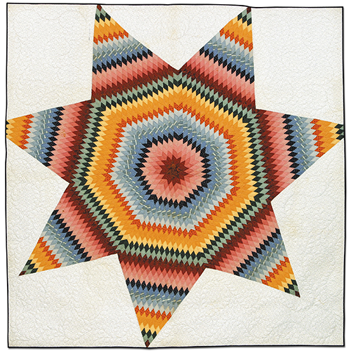 Lone Star, ca. 1875 by unknown artist. Machine quilted in 2003 by Kathy Colvin.