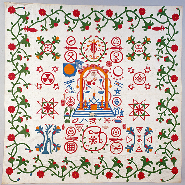 Appliqué Quilt, 1850-1877. Jane D. Haight Webster (1808-1877), South Bend, Indiana. Scottish Rite Masonic Museum & Library, Gift of Donald E. Mohn, 86.69. Photograph by David Bohl.
