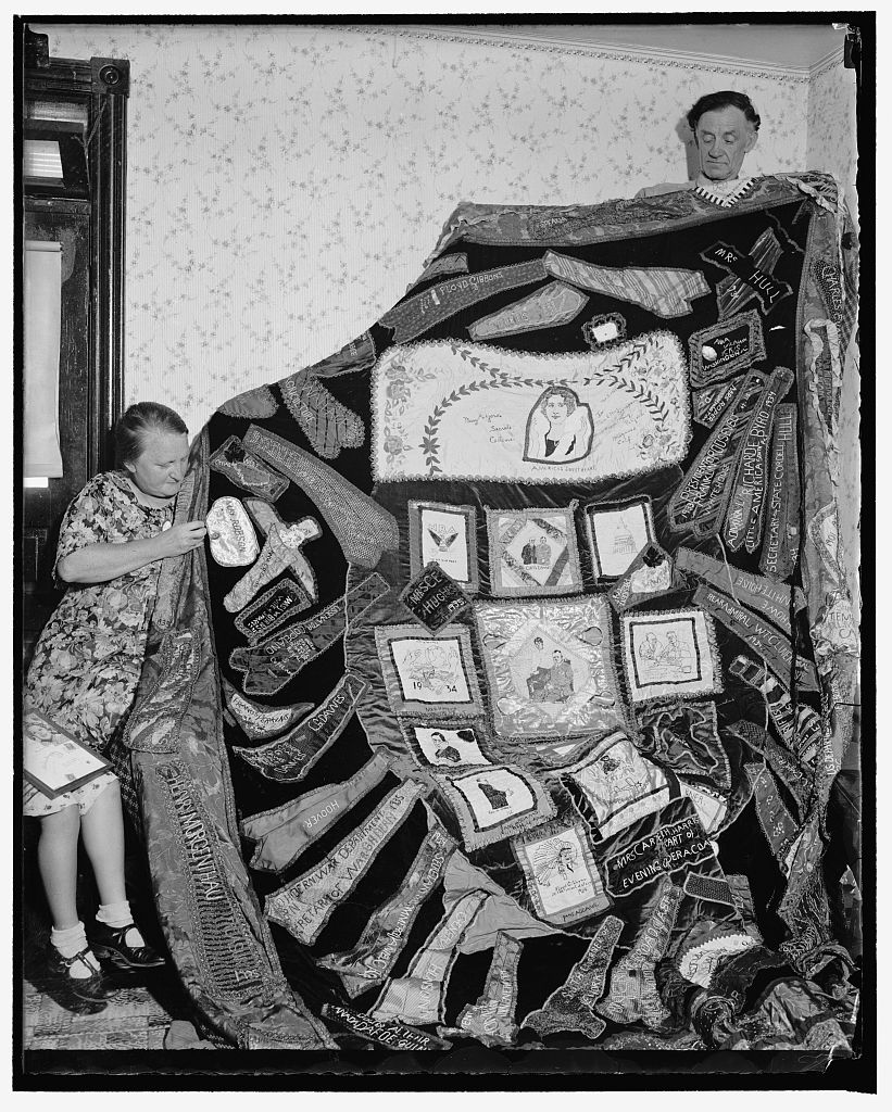 Photo of Ethel Sampson (on the left) and her quilt. Part of the Harris & Ewing Photo Collection, August 17, 1937, Library of Congress Prints and Photographs Division, Washington, D.C. 20540 USA.